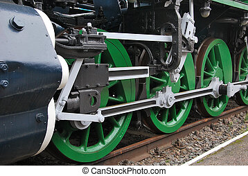 Steam train - Close up shot of wheels of the old locomotive