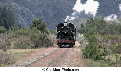 Steam Train coming towards - Vintage steam train coming...