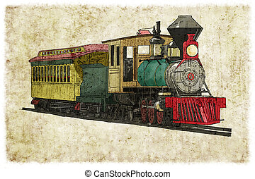 Steam train digital illustration vintage