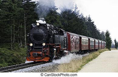 steam train from brocken station im Harz - Narrow gauge...