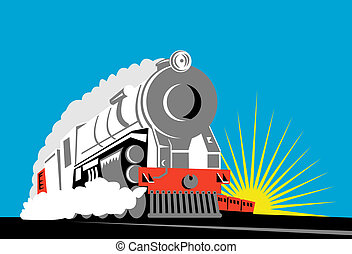Steam train front on