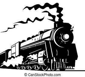 Steam train - Illustration on rail transport isolated on...