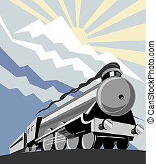 Steam train - Illustration on rail travel and transport