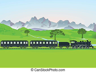 Steam train in front of mountain me