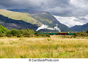 Steam train in Llamberris, Snowdonia, Wales