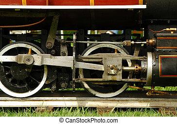 steam train - large scale model steam engine on tracks
