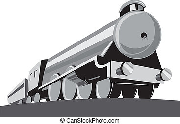 Illustration of a steam train locomotiveviewed from a low angle done in retro style on isolated white background.