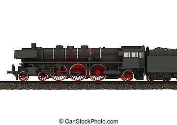 Steam Train Locomotive Illustration Isolated on White....
