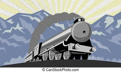 steam train locomotive - 2d video footage animation of a...