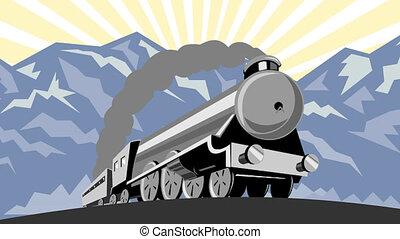 steam train locomotive travelling