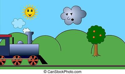 Steam train on road 4k UHD