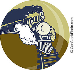 Steam train or locomotive coming up set inside a circle -...