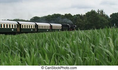 Steam train retro carriages riding in countryside - passing camera.