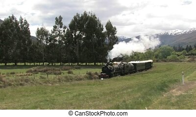 Steam Train Scenic - steam train going through scenic...