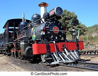 Steam Train - Steam locomotive in the platform in...