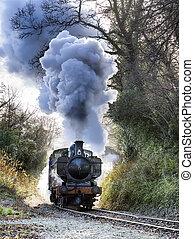 Steam train puffing