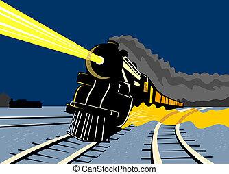Steam train traveling