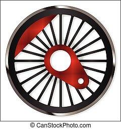 Steam Train Wheel - A single steam train driving wheel...