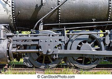 Steam Train Wheel Closeup