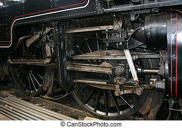 steam train wheel detail