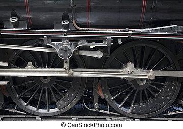 Steam Train Wheel on Tracks