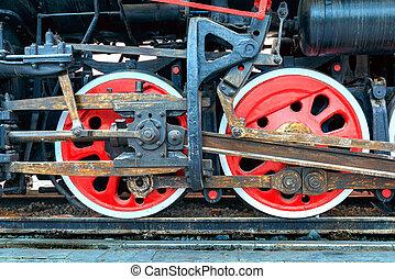 Steam train, wheels.