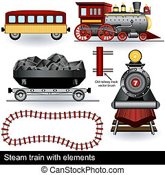 steam train with elements - Illustration of two steam trains...