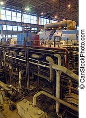 steam turbine, machinery, tubes at a power plant
