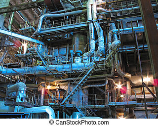 steam turbines, machinery, pipes, tubes at a power plant,...