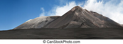 Mt. Etna, Sicily, Italy - Steam vents from the crater at the...
