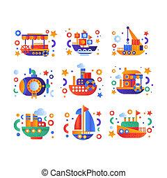 steamboat, cute, passageiro, jogo, iate, ilustração, transporte, água, vetorial, submarino, fundo, cruzeiro, branca, navio, retro