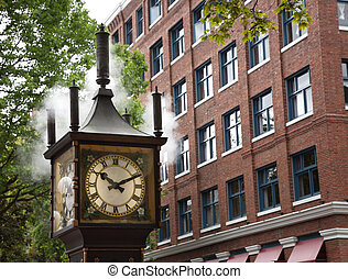 steamclock - view of the steamclock in gastown, vancouver,...
