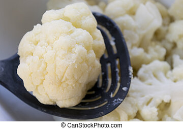 steamed cauliflower on a platic ladle - steamed organic...