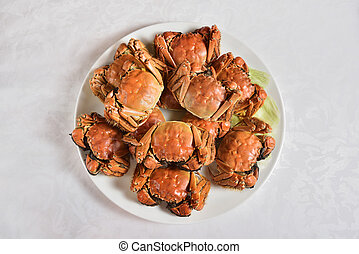 Steamed Chinese hairy crabs