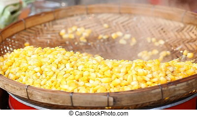 Steamed Corn . Asian street food .Full HD footage