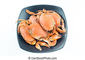 Steamed Crab On a black plate