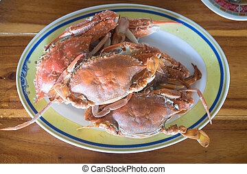 Steamed crab on dish