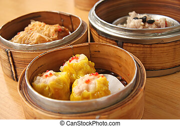 Steamed dimsum - Chinese steamed dimsum in bamboo containers...
