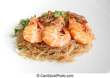 Steamed Glass Noodles with Shrimp, popular Thai food,...