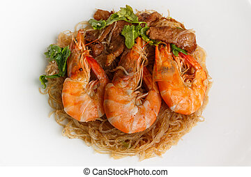 Steamed Glass Noodles with Shrimp, popular Thai food