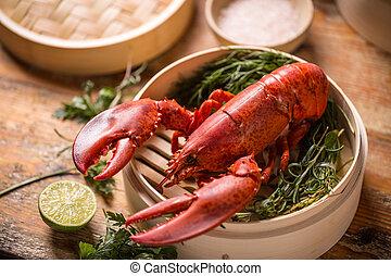 Steamed lobster in bamboo steamer