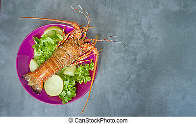 steamed lobster on plate