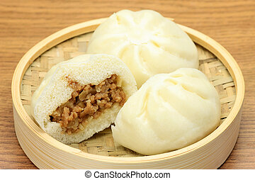 steamed meat bun - This is the steamed bun which the ground ...