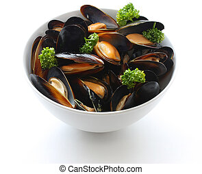 steamed mussels with white wine - on a white background