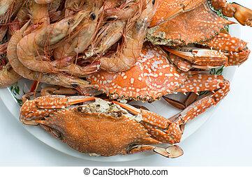 sea food - Steamed sea food in white plate.