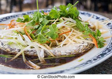 Steamed Snowfish (Gindara fish, black cod) with soy sauce...
