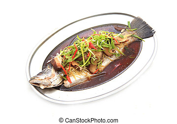 Steamed tubtim fish with light soy sauce