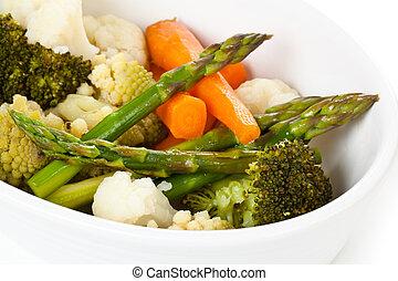 Steamed vegetables. - Closeup shot of steamed vegetables on ...