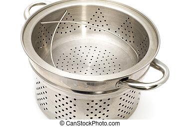 object on white - kitchen utensil steamer