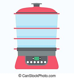 Steamer food icon vector cook cooking kitchen illustration isolated flat symbol equipment electric steam